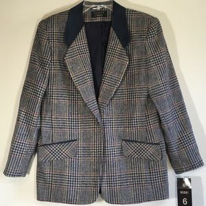 Vintage Wool Blazer Plaid Suede Tweed Oversized